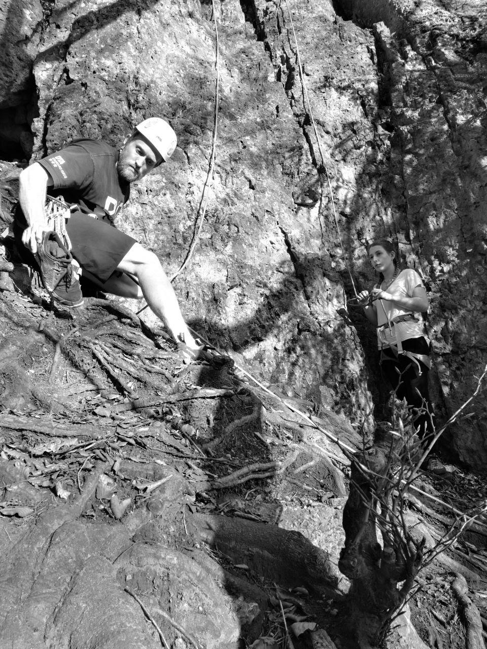 climber preparing